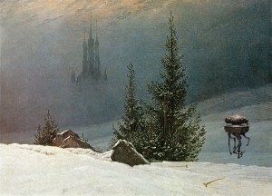 winter landscape with probe droid